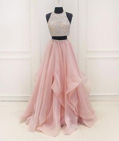 Two Pieces Round Neck Sequins Long Pink Prom Dresses, Pink Evening Dresses #promdresses #formaldresses #promdresses2019 #promdresseslong #twopiecespromdress #pinkpromdresss #sequins #formaldresses #eveningdresses