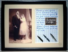 mon mari, tableau rétro humoristique, écrit à la plume avec photo ancienne : Décorations murales par redactions-d-autrefois