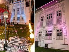 Decoração inspirada na verdadeira Lapa, com a fachada de um casarão dando o tom da festa