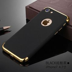 Vpower Plating Case For iphone 7 plus iphone 7 Case Gold Black Luxury Thin Back Hard Armor Case For Apple iPhone 7 Cover Iphone 7 Plus, Cool Cases, Cool Iphone Cases, Iphone 7 Cases Luxury, Bling Bling, Iphone 7 Covers, Rose Gold Wallet, Accessoires Iphone, Black Luxury