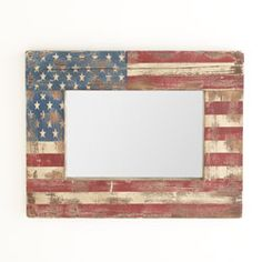 I love this flag look with the mirror inside.  A great look for any room if you love the old Red, White, and Blue. Stars And Stripes Mirror - New