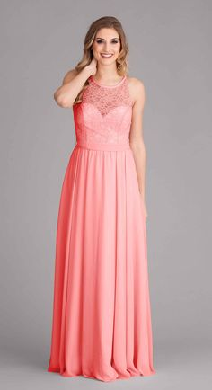 Kennedy Blue Delilah is a lace and chiffon dress with a lace bodice that has a sleeveless, high illusion neckline with a sweetheart cut underlay and illusion back.