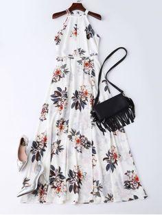 Bohemian Floral Open Back Maxi Dress - White White Maxi Dresses, Pretty Dresses, Casual Dresses, Summer Dresses, Dresses Dresses, Dresses Online, 1950s Dresses, Fall Dresses, Long Dresses
