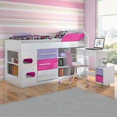 Cama de Solteiro com gavetas, nichos e escrivaninha Sleep L.O.L…