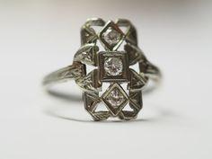 54887d426 Royal Antique 18K White Gold Diamond Deco Cocktail Ring 3 Stone VEG #35