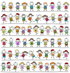 Illustration of cute kids pattern, childlike style drawing vector art, clipart and stock vectors. Doodle Art, Les Doodle, Art Drawings For Kids, Drawing For Kids, Easy Drawings, Power Point Gratis, Doodle People, Stick Figure Drawing, Magazines For Kids