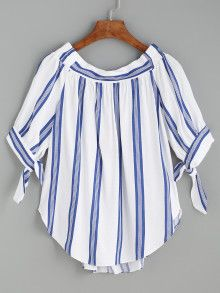 SheIn offers Blue Vertical Striped Tie Sleeve Curved Hem Blouse & more to fit your fashionable needs. Couture, Shirts & Tops, Simple Dresses, Blouse Designs, Fashion Outfits, Fashion Styles, Women's Fashion, Sleeves, Clothes