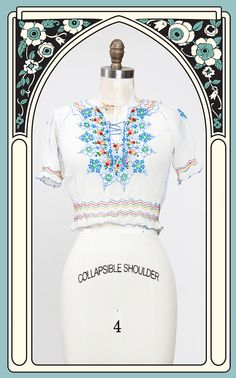 SOLD -- Beautiful 1930s Hand Embroidered Cotton Peasant Blouse – Bygones