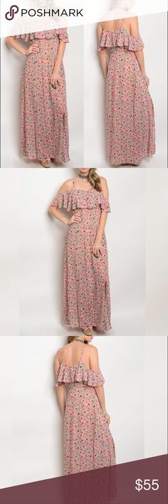 Floral Cold Shoulder Maxi Dress Accepting reasonable offers. 100% Polyester. Partially lined, adjustable spaghetti straps, two slits in front, zipper/hook & eye closer on the side, & criss cross chest detail. True to size. Any questions, feel free to ask! If you need my size/measurements let me know. Glam Vault Boutique Dresses Maxi