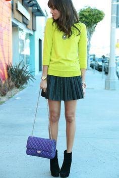 neon yellow #JCrew sweater= hotness. Love the purple Chanel too mm grapey