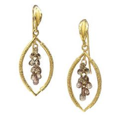 Champagne Diamond Gold Cluster Drop Earrings