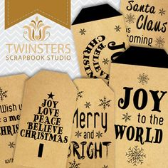 Printable old paper Christmas tags  black  png  TW114 by Twinsters