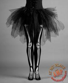 black tutu skirt and skeleton Halloween