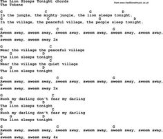 Song Lyrics with guitar chords for The Lion Sleeps Tonight: