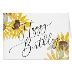 Happy Birthday Watercolor Sunflower Card - birthday diy gift present custom ideas Calligraphy Birthday Card, Watercolor Birthday Cards, Birthday Card Drawing, Calligraphy Cards, Watercolor Cards, Happy Birthday Painting, Happy Birthday Drawings, Watercolour, Bday Cards