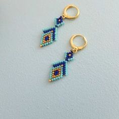 Items similar to Oriental style beaded earrings, japanese delica beads, thin gold plated finding on Etsy Seed Bead Jewelry, Bead Jewellery, Seed Bead Earrings, Beaded Jewelry, Jewelry Hooks, Seed Bead Patterns, Jewelry Patterns, Bracelet Patterns, Molde
