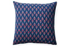 One Kings Lane - The Relaxed Living Room - Indigo 20x20 Cotton Pillow, Blue