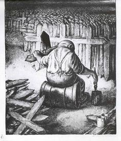 """Paul Weber, Speculating on Death, 1943 Here, a capitalist war profiteer neatly brushes wooden grave crosses in view of the coming war. In a number of Weber's political drawings the mass of """"humans"""" is replaced by the mass of crosses. Illustrators, Fantasy Art, Sketches, Drawings, Painting, Image, Fictional Characters, Death, Crosses"""