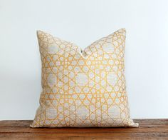 Pillow cover made with 100% linen in natural hand printed in my original pattern. Sophisticated, bold, classic and crisp. Brass/Gold ink.