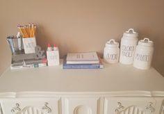 Rae Dunn desk Desk Organization, Classroom Organization, Classroom Decor, Chalkboard Classroom, Future Classroom, Craft Room Desk, Vinyl Storage, Classroom Inspiration, Kids House