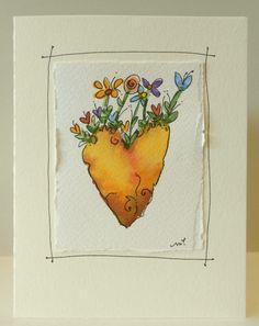 Heart From The Center Of The Earth Watercolor por betrueoriginalart