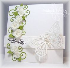 White Roses by bfinlay -  at Splitcoaststampers. Roses are hand-made. Could be wedding invite as well.