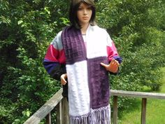 Hand Knit Purple and White Scarf with Fringe   Cathy Creates - Handmade knit and crochet accessories and apparel @dusamae