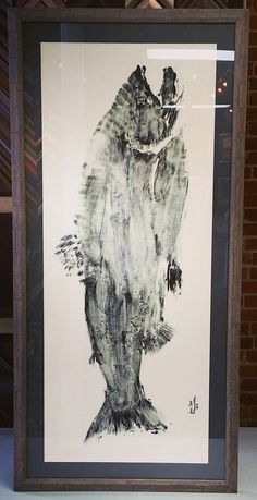 Large fish imprint custom framed with acid-free matting and @larsonjuhl's Vagabond! #art #pictureframing #customframing #denver #colorado #fish
