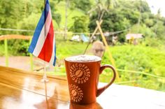 Coffee mug with costa rican flag drake bay cafe Drake Bay Cafe Drake Bay, Osa Peninsula Costa Rica #food #coffee #foodie