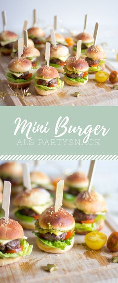 Mini-Burger The post Der perfekte Party Snack! Mini-Burger appeared first on Essen Rezepte. Party Finger Foods, Snacks Für Party, Finger Food Appetizers, Appetizers For Party, Appetizer Recipes, Snack Recipes, Birthday Party Snacks, Tapas Party, Fingerfood Party