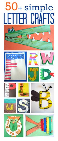 Alphabet crafts for kids. Get creative and learn all about letters by creating with them. Alphabet crafts for kids. Get creative and learn all about letters by creating with them. Preschool Literacy, Preschool Letters, Learning Letters, Literacy Activities, Toddler Activities, Preschool Activities, Kids Learning, Kindergarten, Leadership Activities