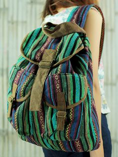 Green ikat abstract tribal native design backpack /Ethnic rucksack /School Bag /holiday bag /Hippie bag / Boho/ Folk / Gypsy / tapestry bag