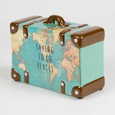 Wie cool! Spardose als Koffer mit Weltkarten Motiv #atlas #globus #affiliate #verreisen #geschenk #männer #travel #diy