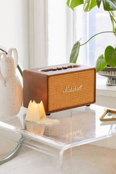 Shop Marshall Tawny Acton Wireless Speaker at Urban Outfitters today. Home Speakers, Wireless Speakers, Radios, Marshall Acton, Earthy Home Decor, Bear Rug, Desk Supplies, Soho House, Modern Bedroom Design