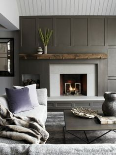 images of modern mid century fireplace design - Google Search