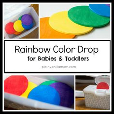 Rainbow Color Drop Game for Babies and Toddlers - baby wipe container and inexpensive thin wooden disks from any art store
