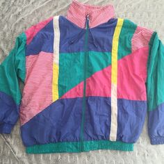 80s Windbreaker Perfect condition 80's windbreaker, the coolest vintage windbreaker I've ever found!! Size large, but can fit any size depending on how oversize you like it, I'm a s/xs! Vintage Tops Sweatshirts & Hoodies
