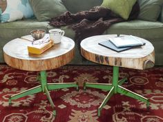 DIY Network shows you how to make a pair of tables using rough-cut lumber and a set of old metal chair legs.