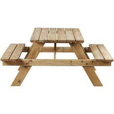 Handige houten picknicktafel met inklapbare banken. Afmeting: 150x150x66,5 cm (lxbxh). #tuin #tuintafel #picknicktafel #hout #KwantumLente
