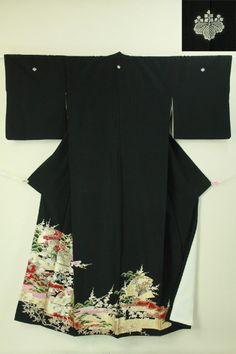 Black tomesode / 黒地 ヱ霞柄扇花木柄 化繊留袖 #Kimono #Japan http://www.rakuten.co.jp/aiyama/