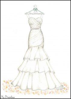 Wedding dress design drawings