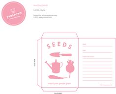 Cute printable seed packet from Yvestown! Rustic Gardens, Seed Packets, Scrapbook Pages, Scrapbooking Ideas, Edible Garden, Free Printables, Seeds, Stationery, Blog