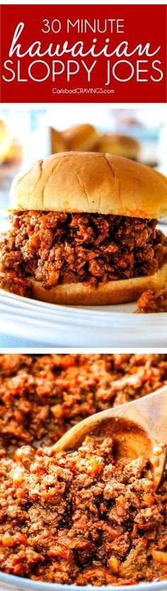 30 Minute Hawaiian Sloppy Joes smothered in the most delicious sweet and tangy Hawaiian BBQ Sauce your whole family will love! Incredibly easy, make ahead and great for crowds! (Whole 30 Burger Recipes) Burger Recipes, Pork Recipes, Cooking Recipes, Recipies, 30 Minute Meals, Quick Meals, Beef Dishes, Food Dishes, Main Dishes