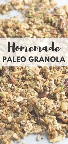 Easy homemade paleo granola is perfect to top yogurt, or enjoy as a healthy snack. Grain-free granola uses maple syrup as a sweetener. This simple granola recipe makes a delicious breakfast. Recipe at  #paleo #breakfast #grainfree #glutenfree #homemadegranola #granola