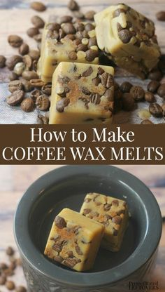 How to make coffee scented wax melts using coffee beans. These easy Homemade cof… How to make coffee scented wax melts using coffee beans. These easy Homemade coffee wax melts with coffee beans make a lovely gift for the coffee lover on your list. Diy Wax Melts, Scented Wax Melts, Diy Candles Scented, Homemade Candles, Homemade Coffee Candle, Homemade Gifts, Diy Gifts, Wax Tarts, How To Make Coffee