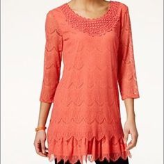 Style & Co eyelet lace tunic Style & Co eyelet lace tunic with scoop neckline & lace trim.  Pullover style...3/4 sleeve...all over eyelet-lace and crochet detail lined with scalloped hem.  Generous sizing.  Deep sea coral in color.  Size small (6/8)...NWT Style & Co Tops Tunics