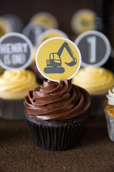 Excavator cupcake from a Construction Birthday Party on Kara's Party Ideas | KarasPartyIdeas.com (28)