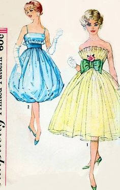 1950s Beautiful Party Evening Dress Pattern Simplicity 2960 Two Skirt and Bodice Styles Unique Design For Special Occasions Bust 31.5 Vintage Sewing Pattern