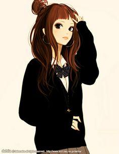 Japanese school girl. Love the cardi & bow.
