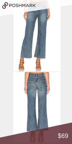 Free People Hopkin Wide Leg Jeans NWT Stonewashed- intentional whisker and fading released hem - contrast stitching high waisted cropped jeans Free People Jeans